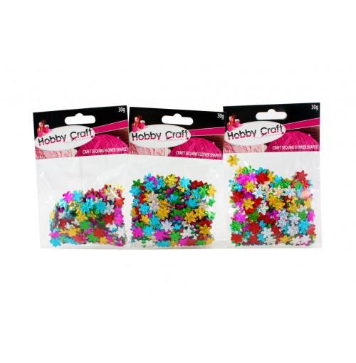 Craft Sequins Flower Coloured 30gm