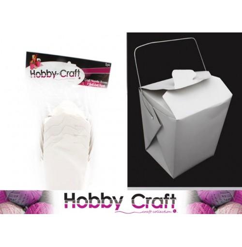 Boxes Craft Noodle Med 5pk W/Metal Handles Cardboard