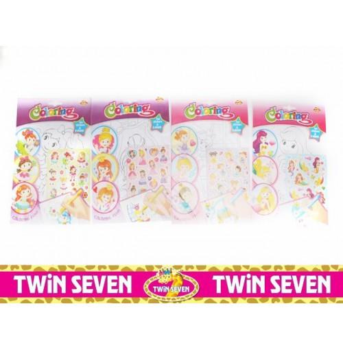 Twin Seven Colouring Sticker Books Girls