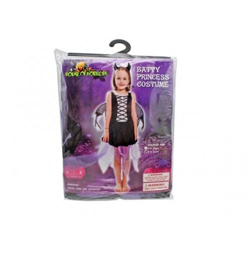 Batty Princess Costume Girls H-Band Wing Dress Blk Sil 2sz