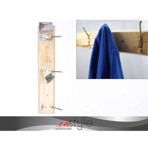 Wall Hanger W/3hooks Wood 29cm