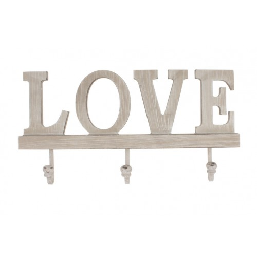 Wood Wall Hooks Love 31x15.5x2cm