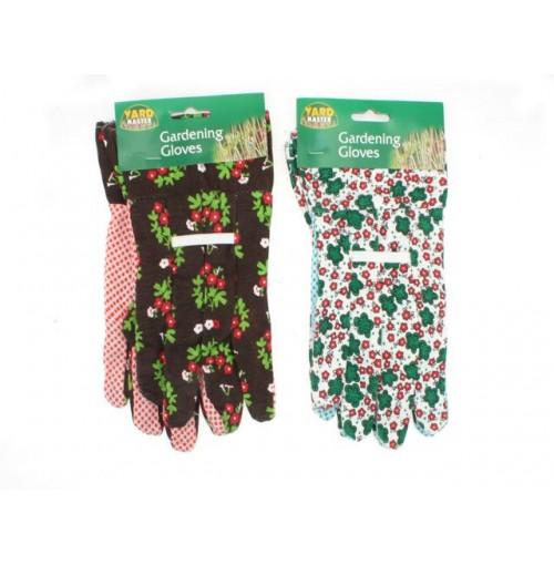 Gardening Gloves Printed W/Pvc Dots