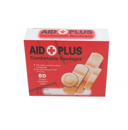 Bandaids 80pc Assorted Sizes Tga  Approved