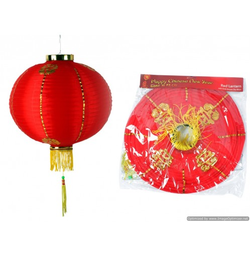 Cny Deco Red Lanter 40cm With Gold Stripes