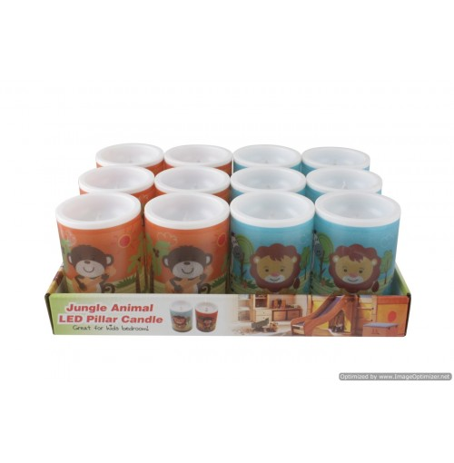 Jungle Animal Led Pillar Candle In Pdq