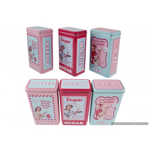Vintage Coffee Tea Sugar Tins 11x19cm