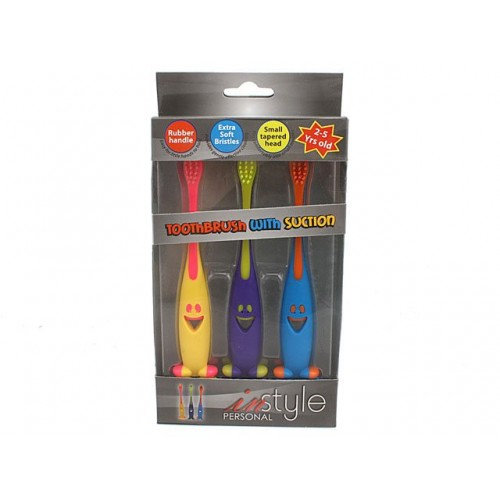 Toothbrush Kids W/Suction 3pk