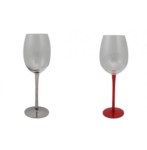 White Wine Glass Silver And Red 6 Piece In Colour Box 2 Assorted