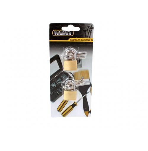 Padlock 20mm Brass Suitcase Set Of 2