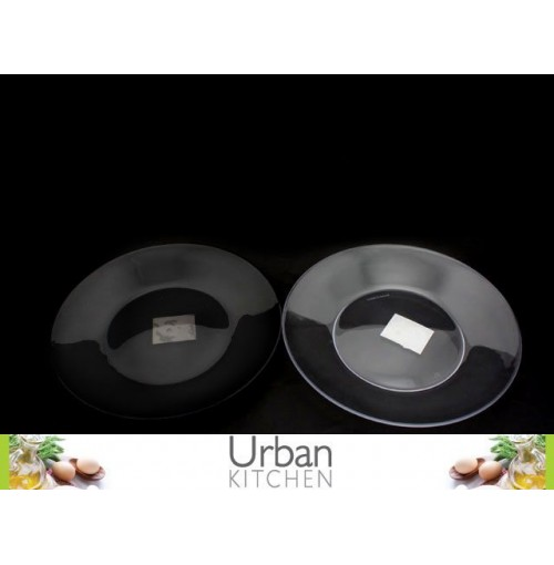 Clear Plate 27cm Plastic 2 Assorted Clear & Charcoal