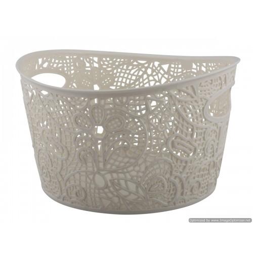 Storage Basket Lace Design W/Handle 25x24.5x15cm 4 Clrs