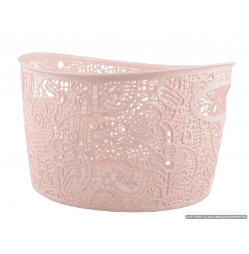 Storage Basket Lace Design W/Handle 29.5x30x18.5cm 4 Clrs