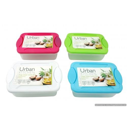 Lunch Box Snap Close 4 Asst 16x11x6.5cm 950ml