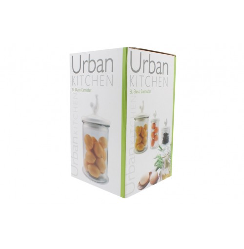 Glass Canister With Ceramic Lid 19x19x34cm 5ltr