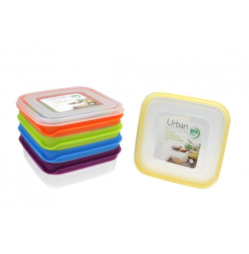 Stripe Square Storage 700ml Container 5 assorted Bpa Free
