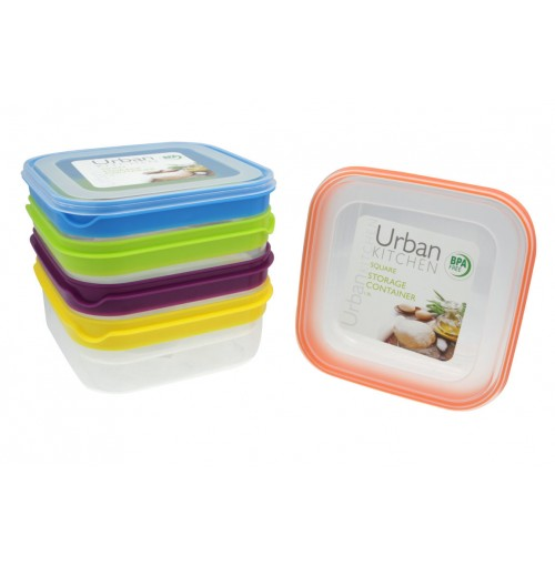 Stripe Square Storage 1.9L Container 5 Assorted Bpa Free