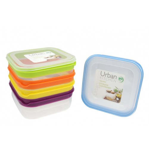 Stripe Square Storage 2.5L 5 Assorted Container Bpa Free