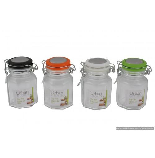 Glass Clip Jars W/Coloured Lid 100ml 6.9x6.9x9.5cm