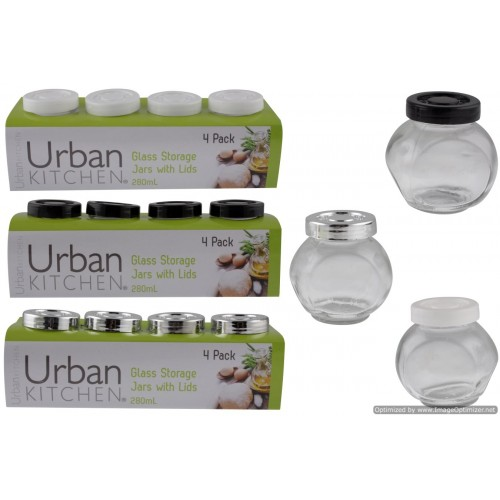 Glass Storage Jars 4pk White & Black Lids