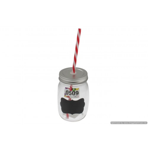 Mason Jar With Blackboard Colour Straw 400ml