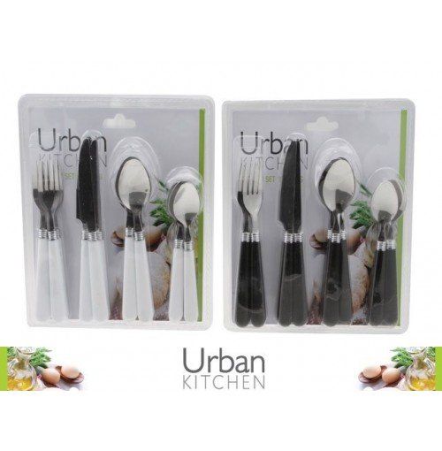 Cutlery Set 16pc White/Black