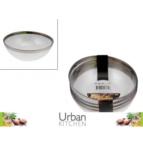 Salad Bowl Clear Plastic S/4 14cm