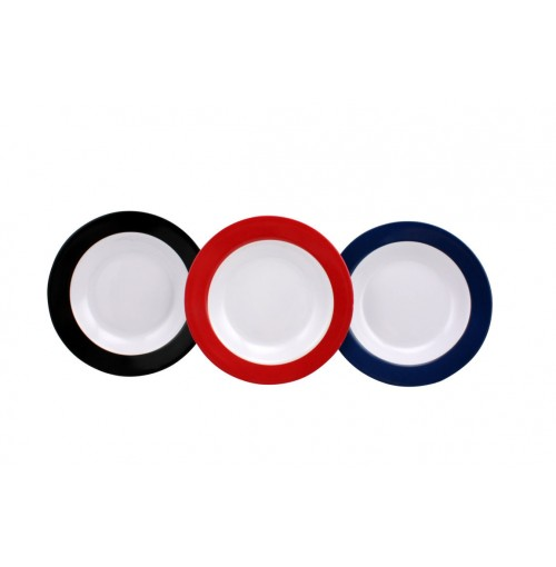 Solid Border Plate 20cm 3 Assorted Blue/Blk/Red