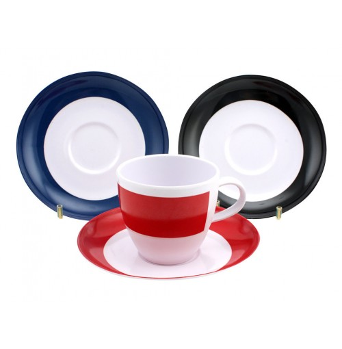 Solid Border Cup & Saucer 3 Assorted