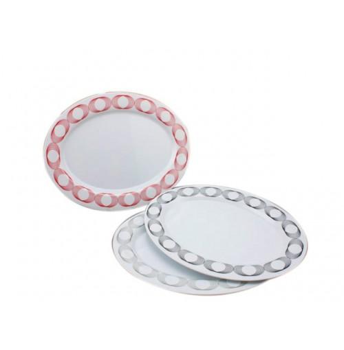 Melamine Oval Platter 36c Ring Design 3cols Blk Red Grey