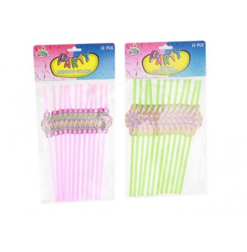 Birthday Straws 12pcs  Swirl & Shine