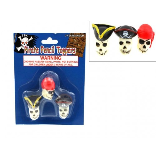 Pirate Pencil Toppers Pk 3