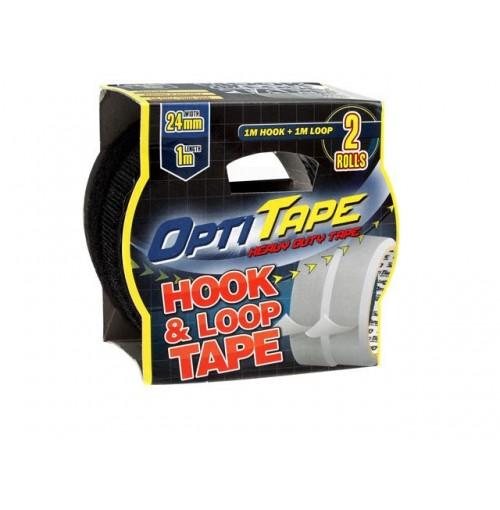Opti Tape Hook And Loop 24mm X 1m Sleeve Pack