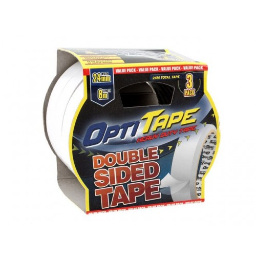 Opti Tape Double Sided 3pk 24mm X 8m Sleeve Pack