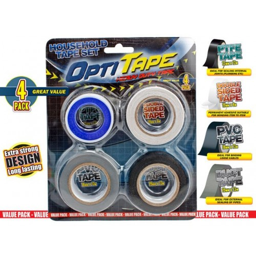 Opti Tape Household 4pk Blister Pack