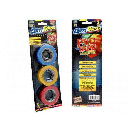 Opti Tape Pvc Coloured 3pk 18mm X 15m Blister Pack