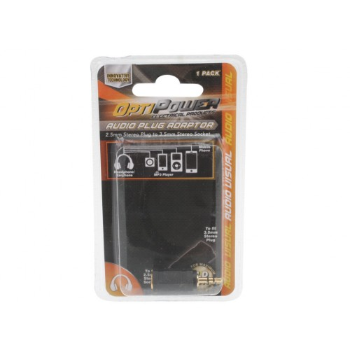 Opti Power Plug Converts 2.5mm Female Jack To 3.5mm Male