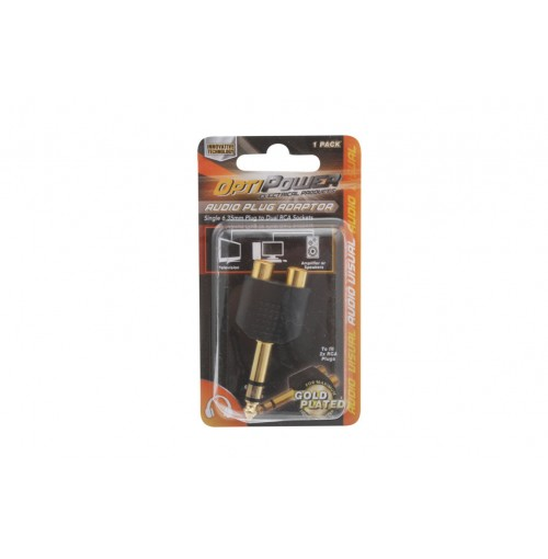 Opti Power Plug Converts Two Rca Skt To Single 6.35mm Plug