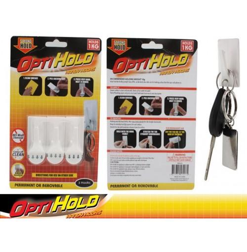 Opti Hold Hooks 3pk Med 1kg Removable