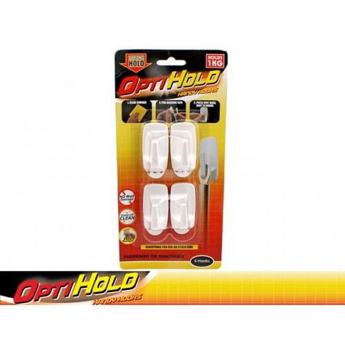 Opti Hold Hooks 4pk Med 1kg Removable Slide Action