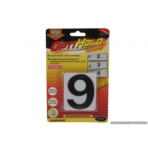 Opti Hold Number Nine Black On White 4.7 X 5.5cm