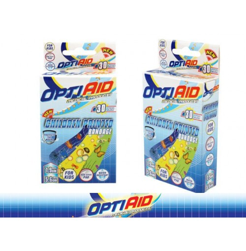 Opti Aid Bandaids Children Printed 30pk 1.9 X 5.6cm