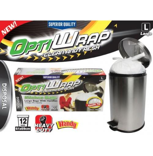 Opti Wrap Handle Tie Bags 12pk Large White 59l