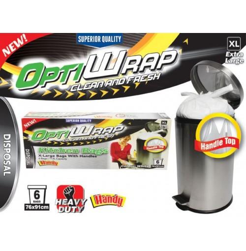 Opti Wrap Handle Tie Bags 6pk X Large White 113l