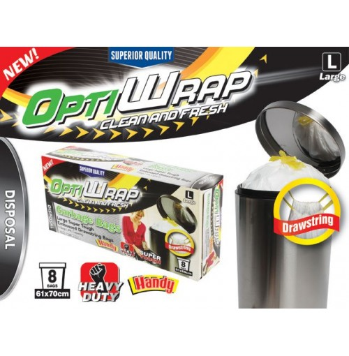 Opti Wrap Garbage Bag Embossed White Drawstring 8pk Lge 49l