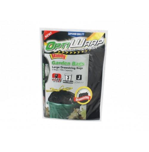 Opti Wrap Jumbo Garden Bags Hd Pull Tight Closure 3pk120x80cm