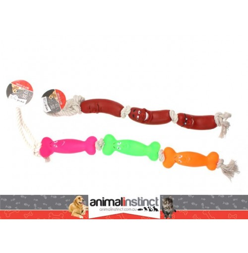 Dog Chew Toy W/Rope 2 Ast 51cm Sausages Or Bones