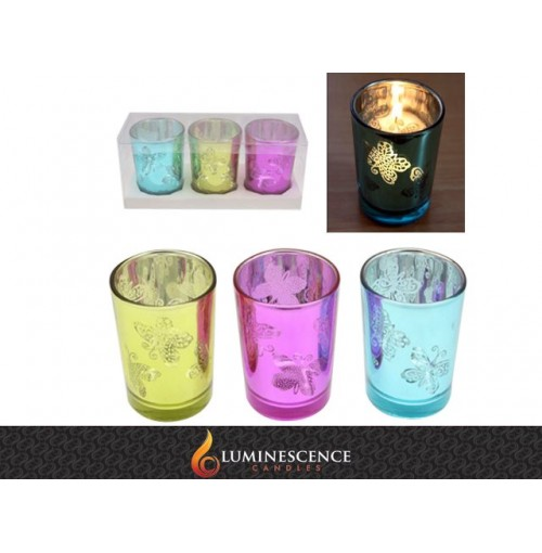 Shiny Butterfly Candle Cup S/3 D/5.5cm