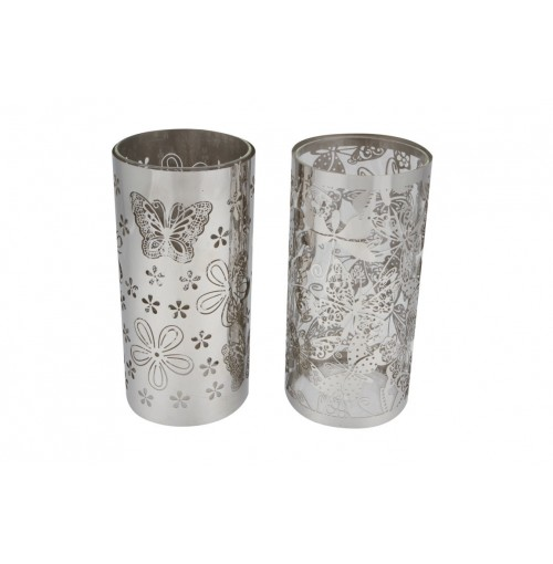Nora Silver Lrg Laser Cut Stencil Candle Holder