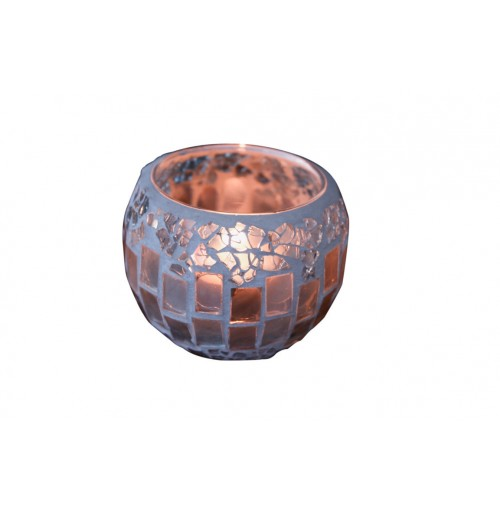 Natural Mosaic T/Light Holder 6.5x8cm